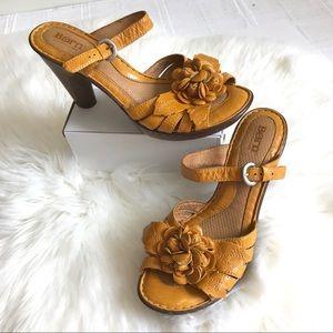 Born Crown Mustard Yellow Flower Leather Sandals